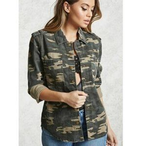 Forever 21 Green Camo Gold Snap Shacket M